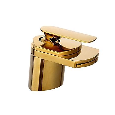 Vinteen Pur cuivre chaud et froid Antique robinet Vintage robinet bassin cascade robinet Robinet d'eau dorée noir ancien brossé dessus bassin robinet (Color : Gold)