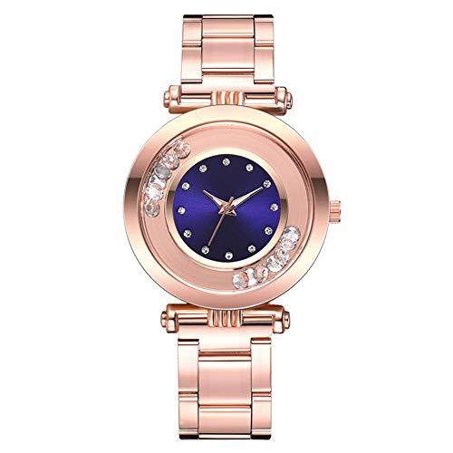 FAgdsyigao Women Wrist Watch, Rhinestone Balls Round Dial Alloy Linked Strap Analog Quartz Watches Blue ()