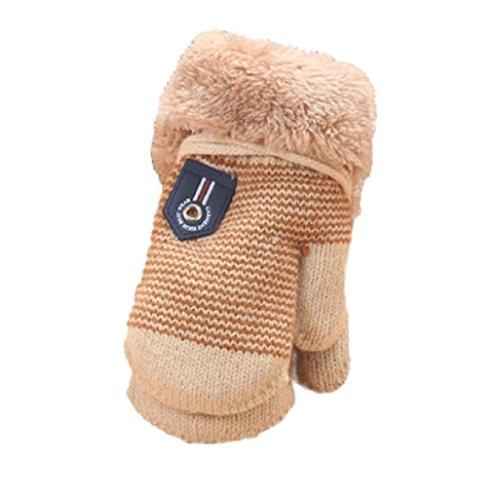 Guantes de bebé Auxma Para 1-4 años de edad Linda hoja bebés de los muchachos espesa la ropa guantes calientes Beigec