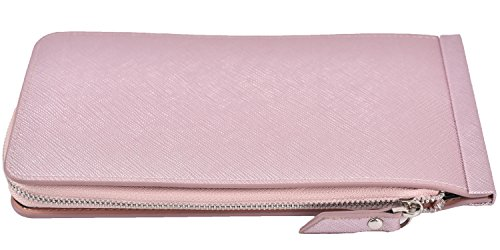 Women's Leather Card Case Holder Wallet Rfid Trifold Thin Zipper Wallet Purse (Light Purple) by Yuhan Pretty (Image #2)