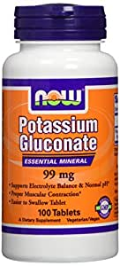 Now Foods Potassium Gluconate 99mg, Tablets, 100-Count