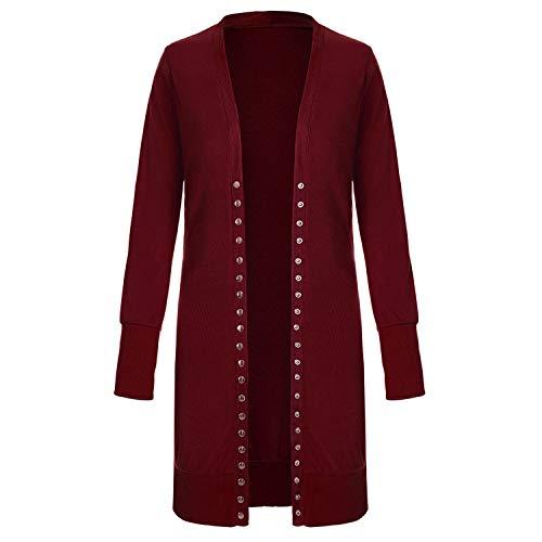 Laemilia Laine Cardigan Elégant Femme Automne Unie Bouton Fermeture Blouson Travail Hiver Bordeaux Veste Couleur qZqfwW1r