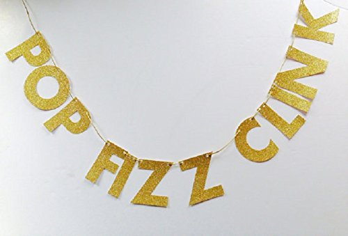 Pop Fizz Clink Gold Glitter Card Sparkly Birthday Banner, 1st birthday, personalised banner, party banner,happy birthday, for $<!--$13.80-->