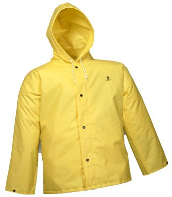 DURASCRIM J56107.MD Nylon/PVC Storm Fly Front Jacket with Attached Hood, Medium, Yellow (Overall Protection)