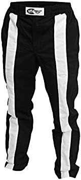 K1 Race Gear Triumph 2 Single Layer SFI-1 Proban Cotton Fire Pants Black//White, Large