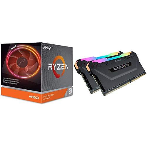 AMD Ryzen 9 3900X 12-core, 24-thread unlocked desktop processor with Wraith Prism LED Cooler & Corsair CMW32GX4M2C3200C16 VENGEANCE RGB PRO 32GB (2x16GB) DDR4 3200 (PC4-25600) C16 Desktop memory Black
