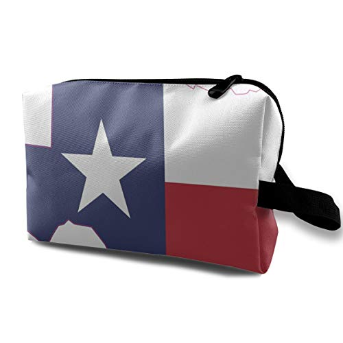 (Wodehous Adonis Texas State Flag Large Travel Cosmetic Pouch Bag Makeup Bags Portable with Zipper White)