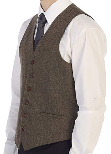 Gioberti Men's 6 Button Custom Formal Tweed Vest, Barleycorn Brown, Large (Brown Vest Wedding)
