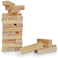 Pytho Jenga Junior | Mini Wood Block Stacking Game for Kids Below 8 Years | 100% Authentic Pine Wood | 36 Plain Classic Blocks | Size: 16 X 6 X 6 cm | Only for Kids