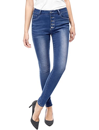 Allegra K Women Mid Rise Button Fly Stretch Washed Skinny