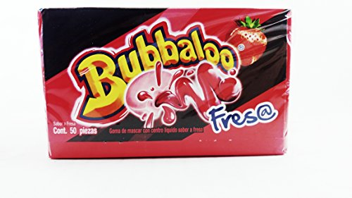 Bubbaloo Fresa/Strawberry Mexican Gum 1 Pack of 50pcs ()