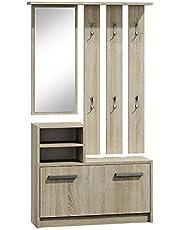 Selsey Julie – garderobeset met schoenenkast wandpaneel plank spiegel 33.46 x 9.45 x 62.99 cm sonoma