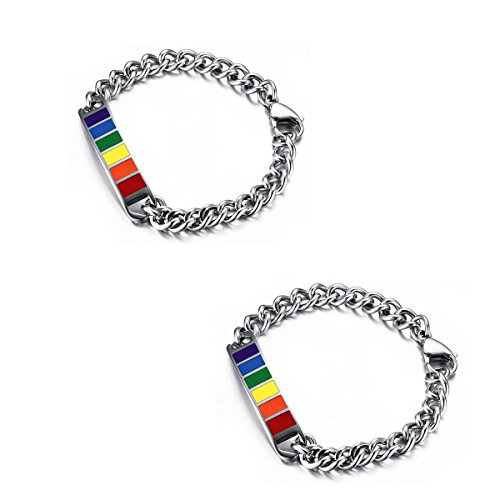 VNOX Jewelry 10MM Stainless Steel Rainbow Rubber Gay & Lesbian Pride Couple Bracelet for Him/Her,8