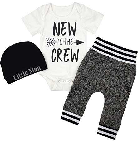 Newborn Baby Boy Clothes to The Crew Letter Print Romper+Short Pants+Hat 3PCS Outfits Set 0-3 Months