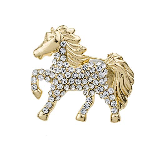 GOMYIE Women'S Charm Crystal Running Horse Brooch(gold color)