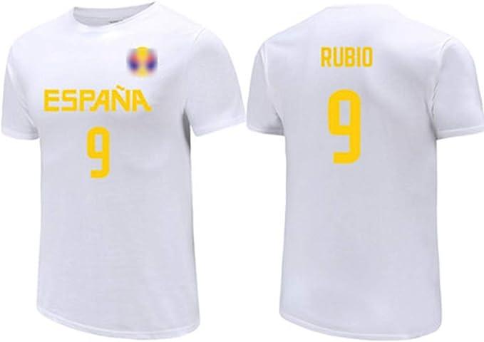 HS-XP Ricky Rubio No.9 Selección Nacional de España Muestra ama la Camiseta, Jerseys de los Hombres, Transpirable/Elasticidad/Unisex con Capucha de 2019 Copa Mundial de Baloncesto,M(167~172) CM: Amazon.es: Hogar