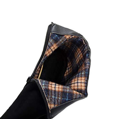 Wedge Zipper Women Boots Black Coolcept Dress Heel 4q1A5wxOAX
