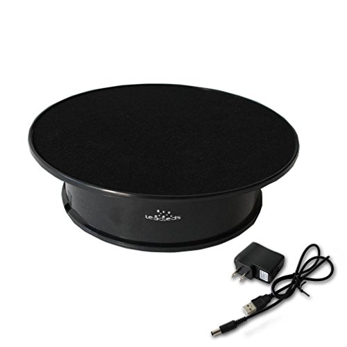 Leadleds Black Velvet Top Electric Motorized Rotating Display Turntable for Model Jewelry Hobby Collectible Home Christmas Decor - With 110v Ac Adapter