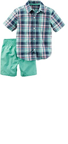 Carter's Toddler Boy's 2 Piece Polo Shirt and Shorts Set (4T, Plaid Shirt) (2 Piece Set Carters Outfit)