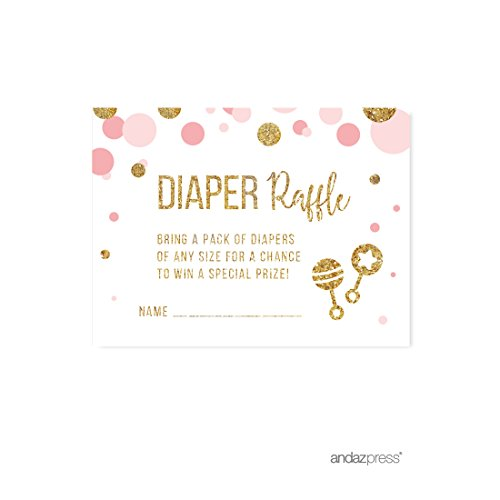 Andaz Press Blush Pink Gold Glitter Girl Baby Shower Party Collection, Games, Activities, Decorations, Diaper Raffle Cards, 30-pack