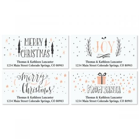 Girly Christmas Personalized Return Address Labels- Set of 144, Large Self-Adhesive, Flat-Sheet Labels (4 Designs) By Colorful Images