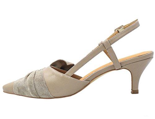 Greatonu Mujer Zapatos Kitten Heels Slingback Vestido Bombas Beige