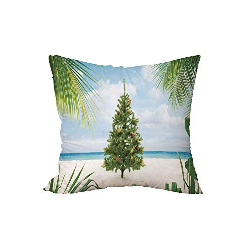 iPrint Throw Pillow Cushion,Christmas Decorations,Tree with Tinsel and