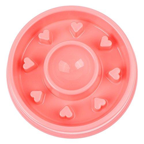 Baobeir Slow Feeder Bowl, Fun Feeder Interactive Bloat Stop Dog Bowl, Eco-Friendly Durable Non Toxic Bamboo Fiber Slow Feed Dog Bowl (Pink) ()
