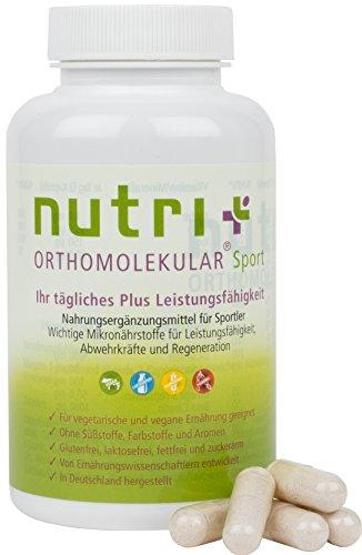 Nutri-Plus Orthomolekular Sport - Nahrungsergänzungsmittel für Muskelaufbau & Leistung mit Omega 3 - 90 Kapseln