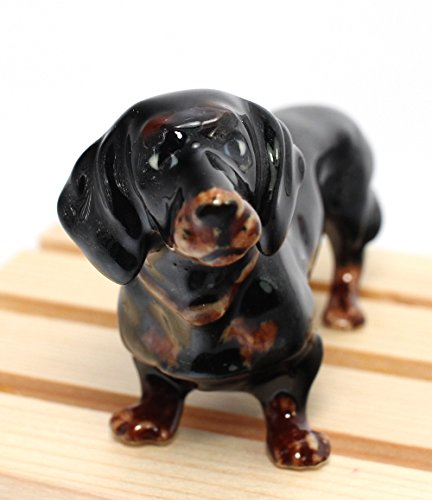 "Dachshund Dog Ceramic Mini Animals Dollhouse Miniatures Figurine 3.5"""