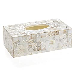 Creative Scents Rectangular Tissue Box Holder, Decorative Tissue Box Cover is Finished in Beautiful Mother of Pearl Milano Collection