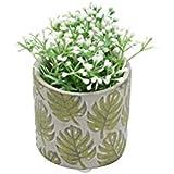 Vaso de Cerâmica Embossed Green Leaves Urban Cinza/Verde