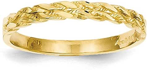 14k Yellow Gold Diamond-cut Rope Ring (3mm Width)