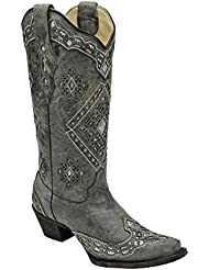 Corral Womens Sparkling Glitter Inlay Black/Silver Cowboy Boots