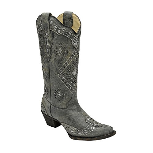 Corral Women's Sparkling Glitter Inlay Black/Silver Cowboy Boots