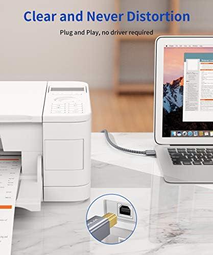 JSAUX Cable Impresora [2M] Cable Impresora USB Tipo B 2.0 Compatible para Impresora HP, Epson,Canon,Brother,Lexmark,Escáner,Disco Duro,Fotografía Digital y Otros Dispositivos-Gris: Amazon.es: Electrónica