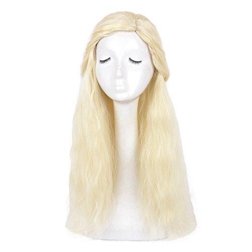 Yuehong Long Curly Blonde Costume Cosplay Wig Halloween Hair Wigs]()
