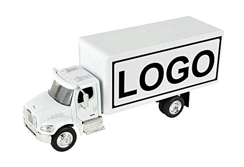 Shop72 Personalized Diecast Truck 1:43 Scale Customized Freightliner M2 White Box Truck with Your Logo, Image or Message ()