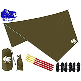 Chill Gorilla Hex Hammock Rain Fly Tent Tarp Waterproof Camping Shelter. Stakes Included.
