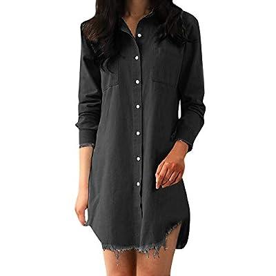 SSYongxia Women's Fashion Denim Shirt Dress Button-Down Mini Dress Casual Clothing with Pockets: Clothing