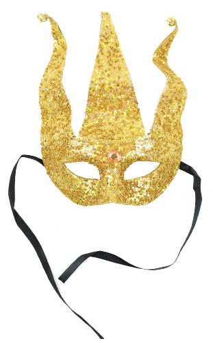 Mask It 71067 Gold Bead/Glitter Half Mask (Lady Costume Mask)