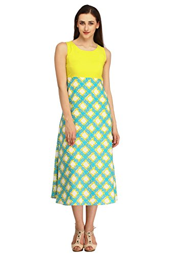 COLOR FUEL Women's Empire Waist Multicolor Dress