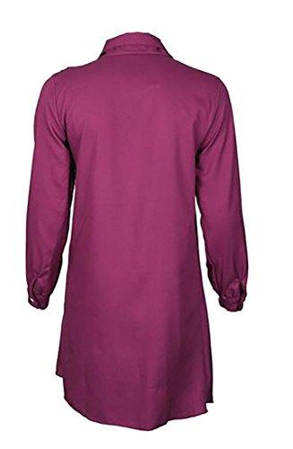 Sleeve V Dress neck Casual Purple Wrap Jaycargogo Dress Long Women's Ruffle APIUxw