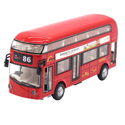 HMANE Pull Back Cars Alloy Double Decker School Bus Construction Vehicles Mini Model Car Toys with Light for Kids Boys Girls Toddlers - (Red)