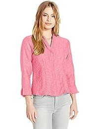 Women's Petite Size 3/4 Sleeve Taylor Chambray Linen Shirt