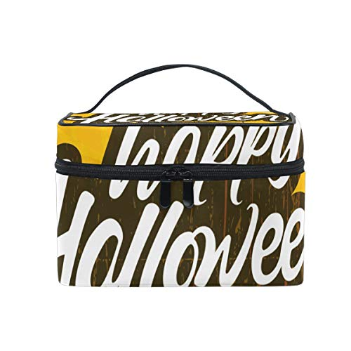 Makeup Bag Halloween Word Scary Spider Cosmetic Portable Storage -
