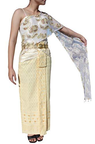 RaanPahMuang Petite One Piece Traditional Thai Woven Silk Wedding Outfit Dress, Small, Cream (Wedding Dress Thai Silk)