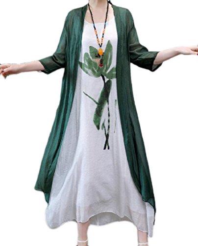 Abetteric Women's 2pcs Set Linen Plus-Size Patterned Round Neck 2/3 Sleeve Party Evening Dress Green XL