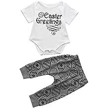 Daoroka Infant Baby Boys Girls 2pc Unisex Set Easter Eggs Letter Printed Outfit Set Short Sleeve Romper Tops Cute Pants (9M/90, White)