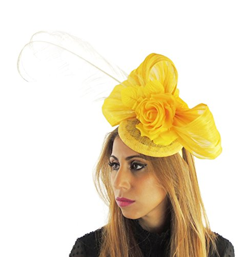 Hats By Cressida Silk Sinamay & Silk Flower Elegant Ladies Ascot Wedding Fascinator Hat Yellow by Hats By Cressida